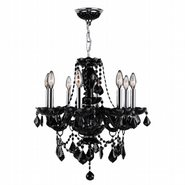 W83103C20-BL Provence 8 Light Chrome Finish and Black Crystal Chandelier - Discontinued