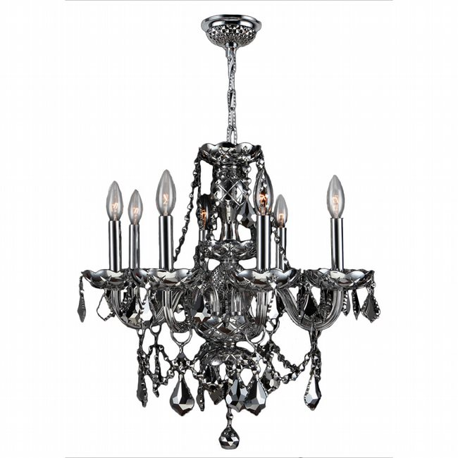 W83103C20-CH Provence 8 Light Chrome Finish with Chrome Crystal Chandelier - Discontinued