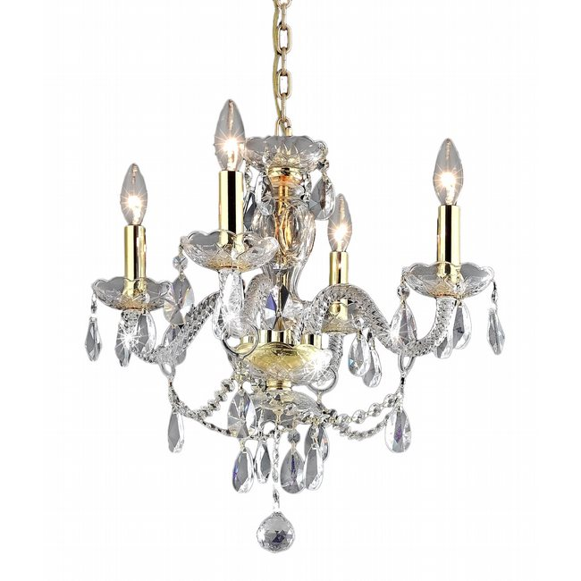 W83103G17-CL Provence 4 Light Gold Finish Crystal Chandelier