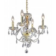 W83103C17-CL Provence 4 Light Gold Finish Crystal Chandelier