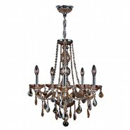 W83104C21-AM Provence 5 Light Chrome Finish and Amber Crystal Chandelier