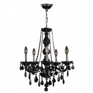 W83104C21-BL Provence 5 Light Chrome Finish and Black Crystal Chandelier