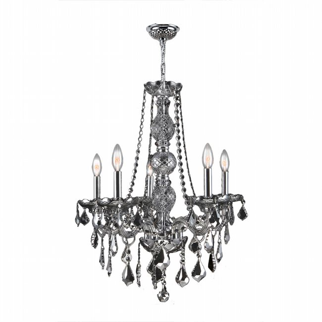 W83104C21-CH Provence 5 Light Chrome Finish and Chrome Crystal Chandelier