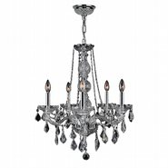 W83104C21-CL Provence 5 Light Chrome Finish and Clear Crystal Chandelier