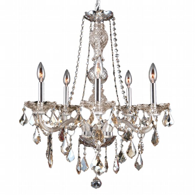 W83104C21-GT Provence 5 light Chrome Finish with Golden Teak Crystal Chandelier