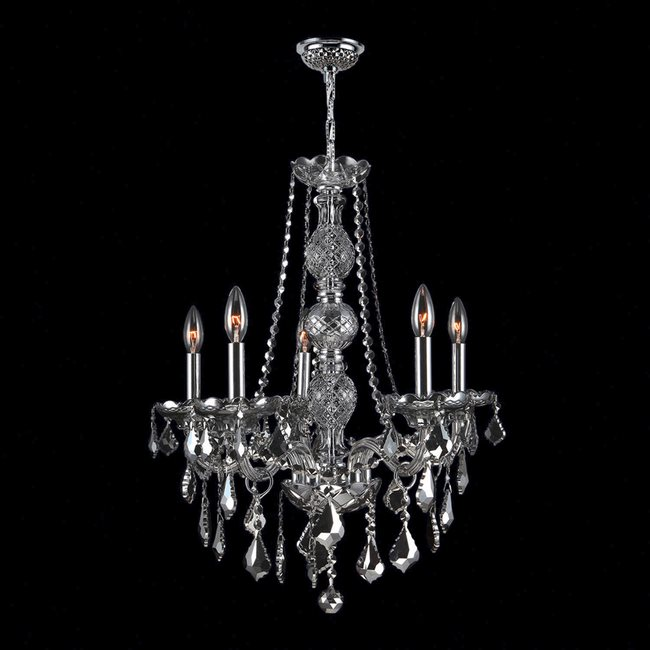 W83104C21-SM Provence 5 Light Chrome Finish and Smoke Crystal Chandelier