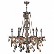 W83105C24-AM Provence 6 light Chrome Finish with Amber Crystal Chandelier