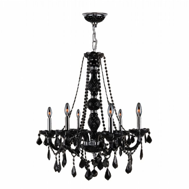 W83105C24-BL Provence 6 Light Chrome Finish and Black Crystal Chandelier