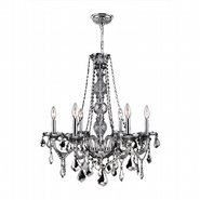 W83105C24-CH Provence 6 Light Chrome Finish and Chrome Crystal Chandelier