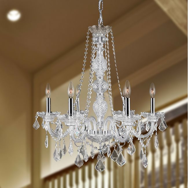 W83105C24-CL Provence 6 Light Chrome Finish and Clear Crystal Chandelier