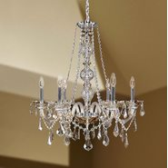 W83105C24-GT Provence 6 Light Chrome Finish and Golden Teak Crystal Chandelier
