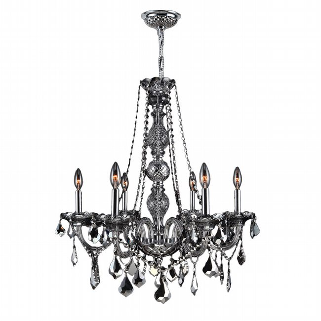 W83105C24-SM Provence 6 Light Chrome Finish and Smoke Crystal Chandelier