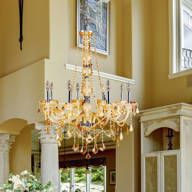 W83106C28-AM Provence 8 Light Chrome Finish and Amber Crystal Chandelier