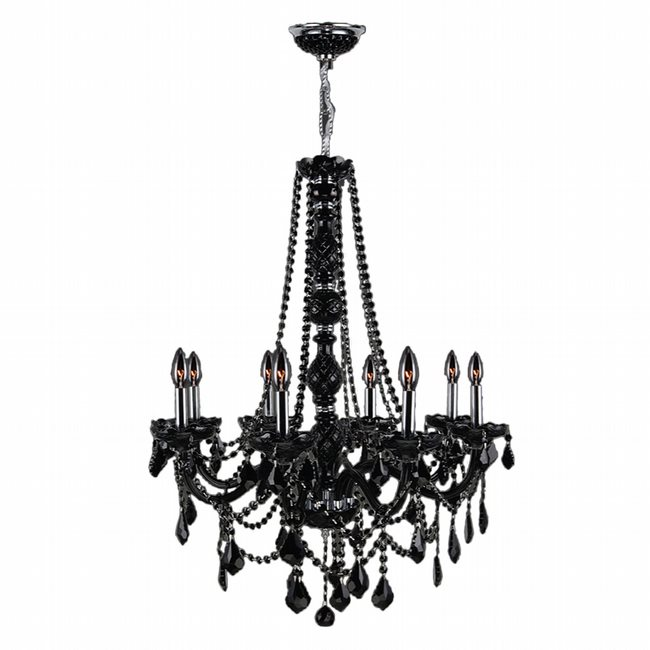 W83106C28-BL Provence 8 light Chrome Finish with Black Crystal Chandelier