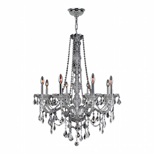 W83106C28-CL Provence 8 Light Chrome Finish and Clear Crystal Chandelier