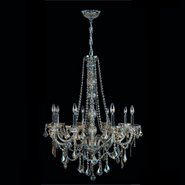 W83106C28-GT Provence 8 Light Chrome Finish and Golden Teak Crystal Chandelier