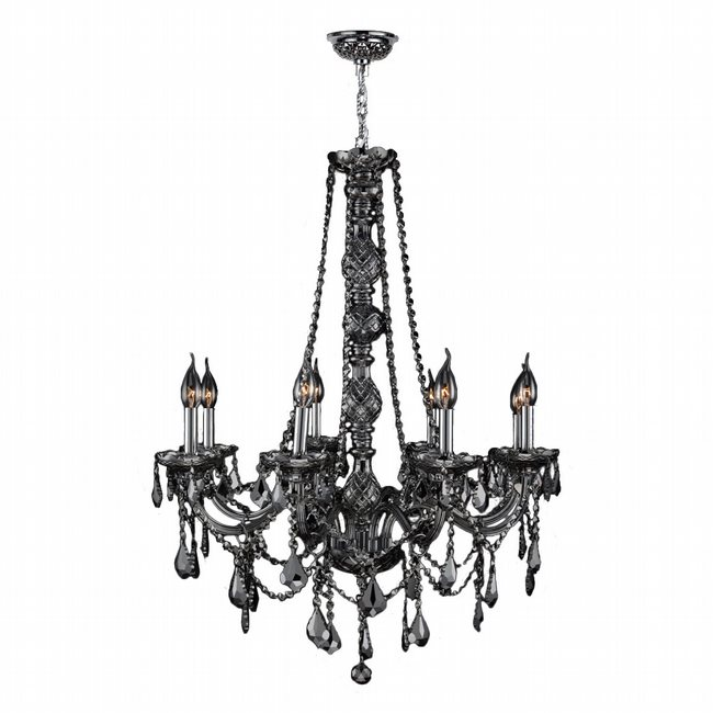 W83106C28-SM Provence 8 light Chrome Finish with Smoke Crystal Chandelier