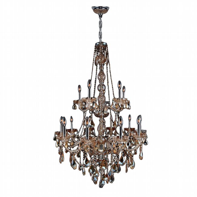W83107C33-AM Provence 15 Light Chrome Finish and Amber Crystal Chandelier Two 2 Tier
