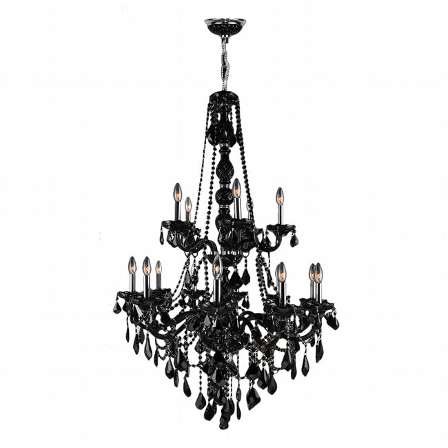 W83107C33-BL Provence 15 light Chrome Finish and Black Crystal Chandelier Two 2 Tier
