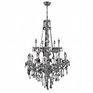 W83107C33-CH Provence 15 Light Chrome Finish and Chrome Crystal Chandelier Two 2 Tier
