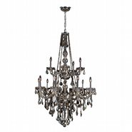 W83107C33-GT Provence 15 light Chrome Finish with Golden Teak Crystal Chandelier