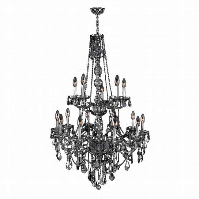 W83107C33-SM Provence 15 Light Chrome Finish and Smoke Crystal Chandelier Two 2 Tier