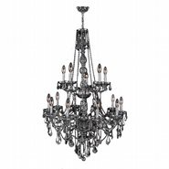 Provence 15 Light Chrome Finish and Smoke Crystal Chandelier Two 2 Tier