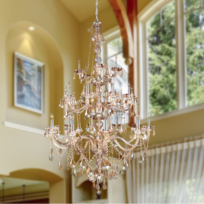 W83108C43-AM Provence 25 Light Chrome Finish and Amber Crystal Chandelier Three 3 Tier