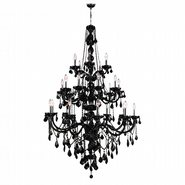 W83108C43-BL Provence 25 Light Chrome Finish and Black Crystal Chandelier Three 3 Tier