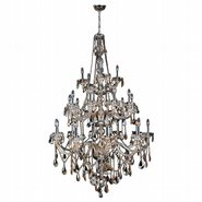 W83108C43-GT Provence 25 light Chrome Finish with Golden Teak Crystal Chandelier