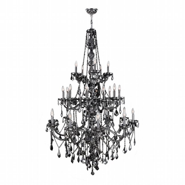W83108C43-SM Provence 25 Light Chrome Finish and Smoke Crystal Chandelier Three 3 Tier