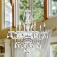 W83097C28-CL Provence 8 light Chrome Finish Clear Crystal Chandelier
