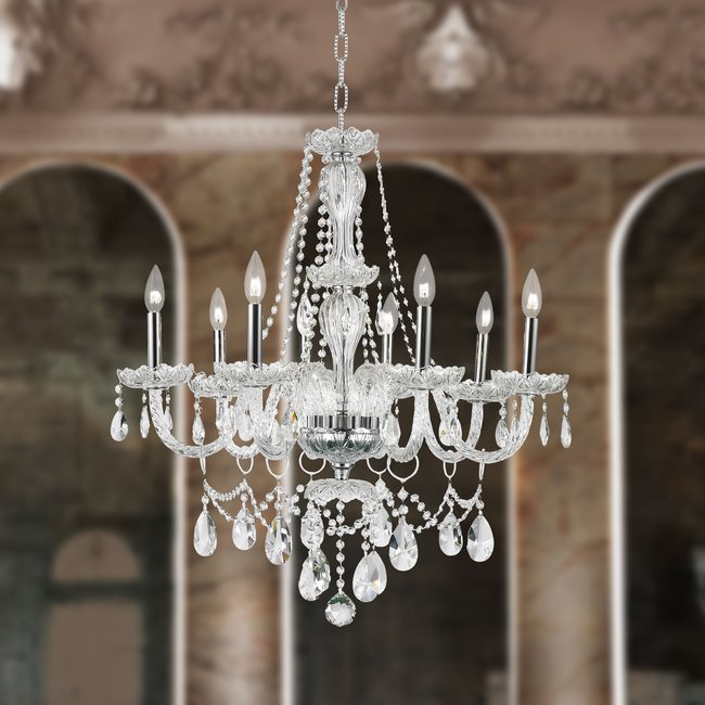 W83097c28 cl provence 8 light chrome finish clear crystal chandelier aloadofball Choice Image
