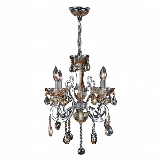 W83109C20-AM Kronos 4 Light Chrome Finish and Amber Crystal Chandelier