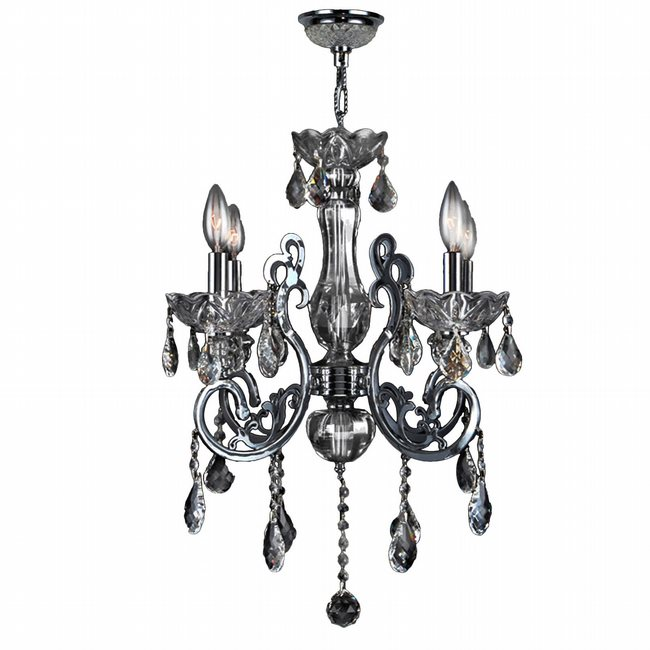 W83109C20-CH Kronos 4 Light Chrome Finish and Chrome Crystal Chandelier