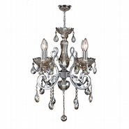 W83109C20-GT Kronos 4 Light Chrome Finish and Golden Teak Crystal Chandelier