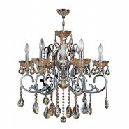 W83109C26-AM Kronos 6 light Chrome Finish with Amber Crystal Chandelier