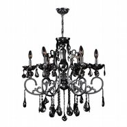 W83109C26-BL Kronos 6 Light Chrome Finish and Black Crystal Chandelier