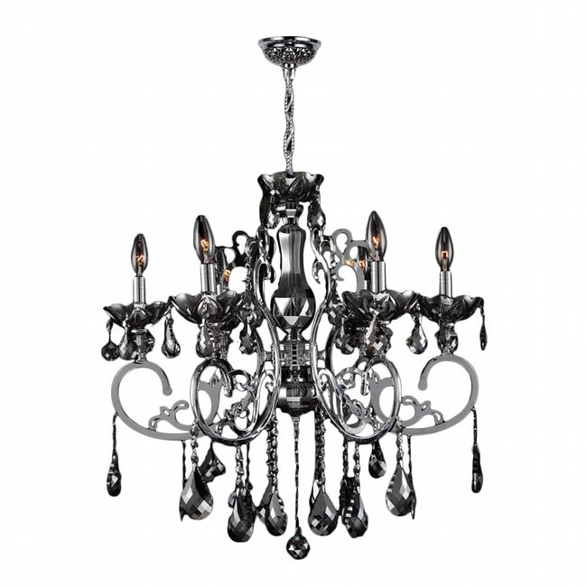 W83109C26-CH Kronos 6 Light Chrome Finish and Chrome Crystal Chandelier
