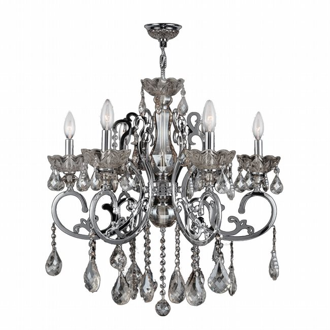 W83109C26-CL Kronos 6 Light Chrome Finish and Clear Crystal Chandelier