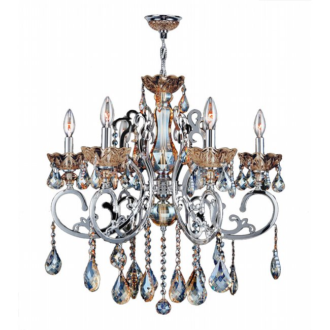 W83109C26-GT Kronos 6 Light Chrome Finish and Golden Teak Crystal Chandelier