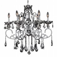 W83109C26-SM Kronos 6 Light Chrome Finish and Smoke Crystal Chandelier