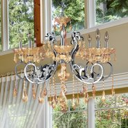 W83109C30-AM Kronos 8 light Chrome Finish with Amber Crystal Chandelier