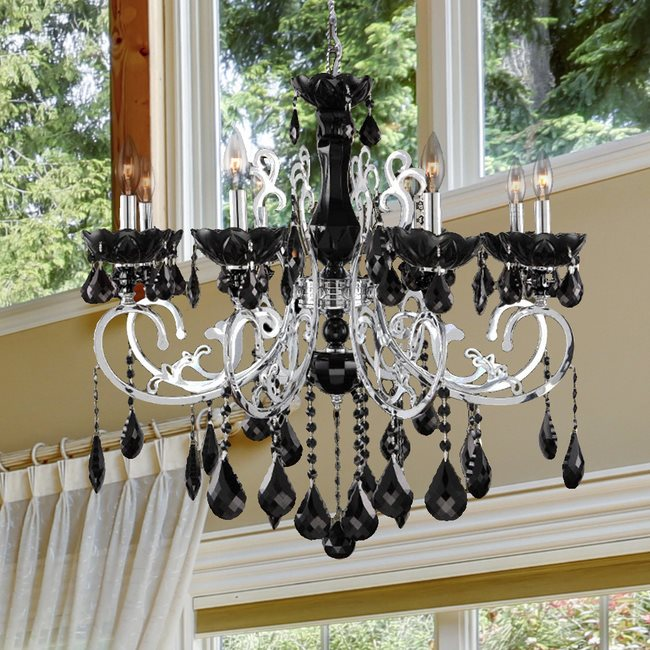 W83109C30-BL Kronos 8 Light Chrome Finish and Black Crystal Chandelier