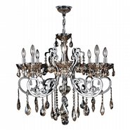 W83109C30-GT Kronos 8 Light Chrome Finish and Golden Teak Crystal Chandelier