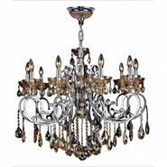 W83109C36-AM Kronos 10 Light Chrome Finish and Amber Crystal Chandelier
