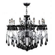 W83109C36-BL Kronos 10 Light Chrome Finish and Black Crystal Chandelier