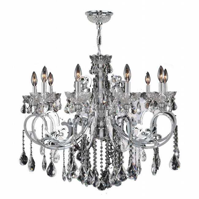 W83109C36-CL Kronos 10 light Chrome Finish with Clear Crystal Chandelier