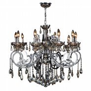 W83109C36-GT Kronos 10 Light Chrome Finish and Golden Teak Crystal Chandelier