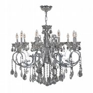 Kronos Collection 10 Light Chrome Finish and Smoke Crystal Chandelier
